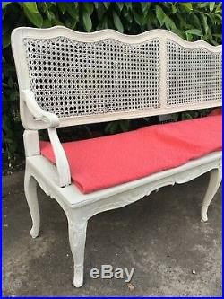 French Antique Bergere Caned Bench Sofa Louis XV