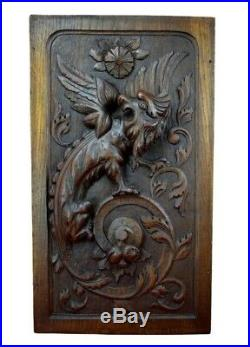 French Antique Deep Carved Panel Door Solid Oak Wood with Griffin Dragon Chimera