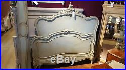 French Antique Double Bed Frame In Duck Egg Blue