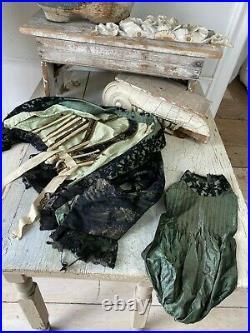 French Antique Dress bodice & skirt Victorian silk 3 piece set antique clothing