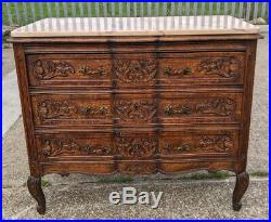 French Antique Louis XV Style Marble Topped Chest of Drawers / Sideboard