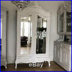 French Antique Painted Mirrored Double Armoire/ Wardrobe / Linen Press /Cupboard