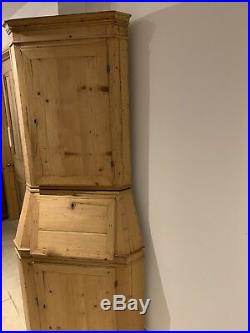 French Antique Pine Cupboard Desk Drawers Storage Cottage Kitchen Cafe Armoire