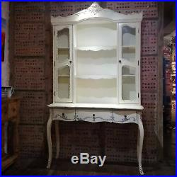 French Antique Style Painted Glass Top Dresser Shabby Chic Vintage Distressed