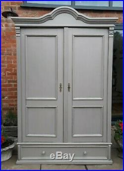 French Antique Victorian painted Pine wardrobe/armoire/hall/linen cupboard