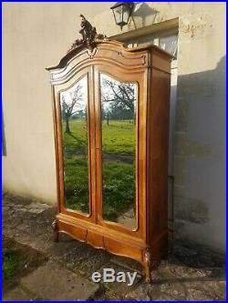 French Armoire Antique Louis XV, Old Double Wardrobe, Vintage Linen Press