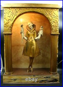 French Art Deco Gilt-bronze Lamp Girl With Puppets Figure By Pierre Le Faguays