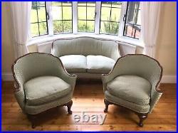 French Art Deco Walnut Sofa Club Chair Lounge Salon Suite Set