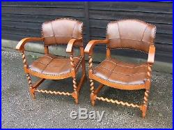 French Barley Twist Oak And Leather Pair Of Open Armchairs (cbtc2)