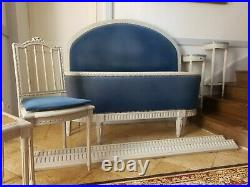 French Bed, Demi Corbeille Bed, Bedside Consoles & Cane Chairs