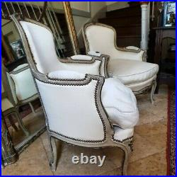 French Chair, Antique Pair Louis XV Style Bergere Armchairs