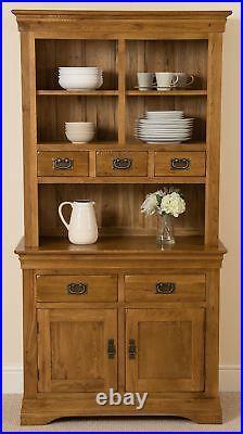 French Chateau Small Rustic Solid Oak Dresser Antique Style Dark Wood Dresser