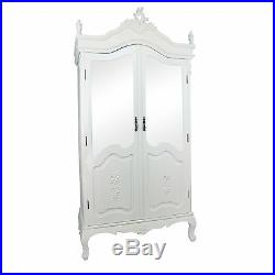 French Chateau Style Chic Light Cream Half Mirrored Double Armoire Wardrobe