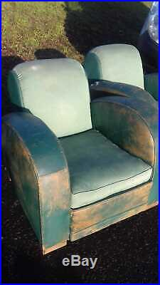 French Club Armchairs, Green Leather, 1930s Art Deco, Tub