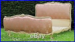 French Corbeille Standard Double Bed With Original Embroidered Silk Upholstery