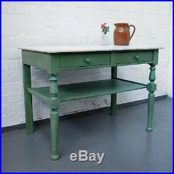 French Country Vintage Marble Topped Washstand Painted Shabby Chic