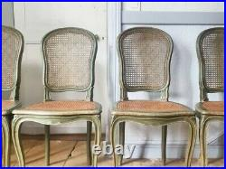 French Dining Chairs, Antique Set of 4 French Cane Dining Chairs