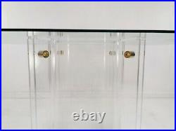 French Dining Table by David Lange Lucite and Glass Mid Century Vintage