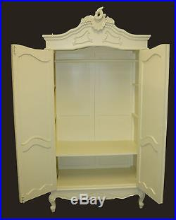 French Double Wardrobe White Hand Carved Mirrored Armoire Antique Shabby Chic