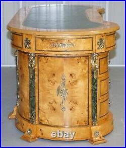 French Empire Revival Burr Walnut Kidney Desk Bronze Sphinx Mounts & Malachite