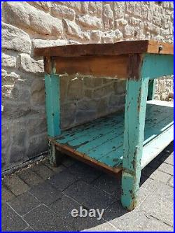French Farm / Industrial Pine Workbench Table with Shelf. Part painted rustic