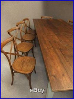 French Farmhouse Solid Wooden Dining Table & 10 Wooden Dining Chairs Kitchen Set