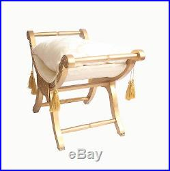 French Gold Damask Window Seat Stool Bench Ottoman Seat Shabby Chic Bedroom