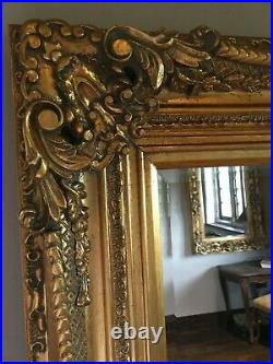 French Gold Ornate Statement Over mantle Swept Dress Floor Wall Mirror 7ft