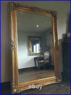 French Gold Ornate Statement Overmantle Leaner Dress Floor Wall Dress Mirror 6ft