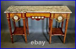French Kingwood Gilt Intarsia Ormolu Console Marbled Top Table Good Condition