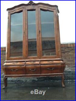 French Kingwood Marquetery Vitrine Display Cabinet Bombe Designe With Drawers
