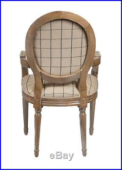French Louis Armchair Oak Gingham Shabby Chic Antique Chair Check Bedroom Hall