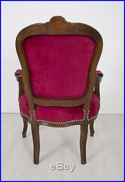 French Louis Armchair Red Mahogany Shabby Bedroom Hallway Wooden Frame Chair