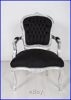 French Louis Armchair Silver Black Shabby Bedroom Hallway Wooden Frame Chair