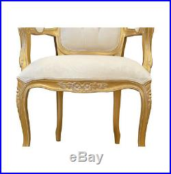 French Louis Chair Gold Shabby Chic Wooden Frame Chair Damask