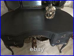French Louis Dressing Table Vintage Olympus Black Gold Triple Mirror Vanity Desk