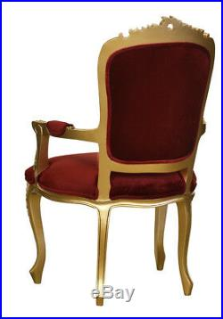 French Louis Gold Armchair Wine Velvet upholstery Elise French Furniture