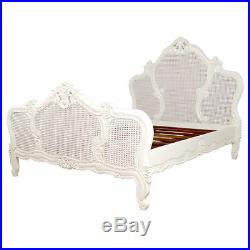 French Louis Rattan Bed King Size 5ft Antique White New In Stock