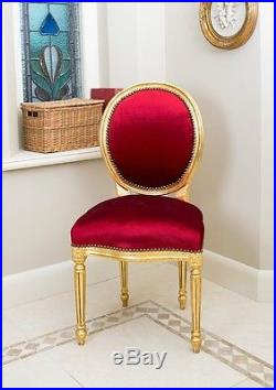 French Louis Side Chair Gold Red Velvet Shabby Chic Bedroom Hallway Wooden Frame
