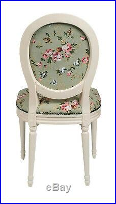 French Louis Side Chair Green Floral Antique Style Bedroom Dining Hall Cream