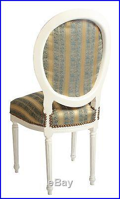 French Louis Side Chair White Gold Green Shabby Chic Bedroom Antique Dressing