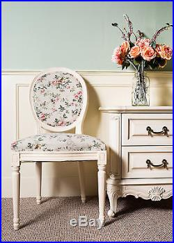 French Louis Side Chair White Pink Floral Antique Style Bedroom Dining Hall