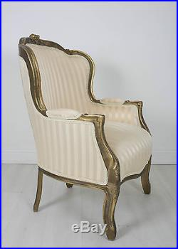 French Louis Tub Stripe Gold Shabby Chic Bedroom Hallway Wooden Frame Chair Arm