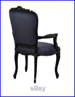 French Louis XV Elise Armchair Black with Black satin velvet