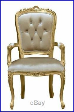 French Louis XV Elise Armchair Gold Frame with Glamour Velvet Upholstery
