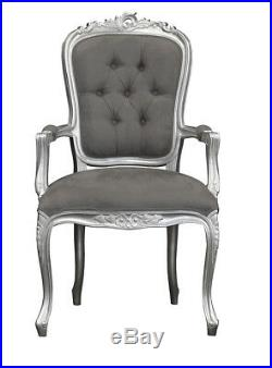 French Louis XV Elise Armchair Silver with Brushed Grey Satin