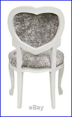 French Louis XV Medee Heart Chair White in crushed silver velvet