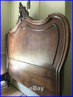 French Louis XV Ornate Carved Antique Solid Oak Double Bed Frame 4ft 6in 46