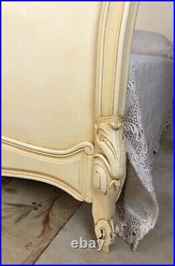 French Louis XV Style Double Bed Frame Dusty Yellow