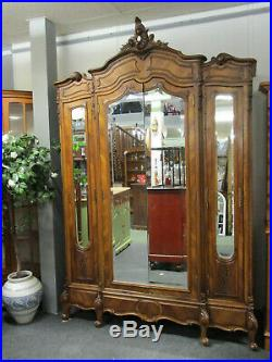 French Louis XV Style Provincial Walnut Armoire Cupboard Matching Bed Available